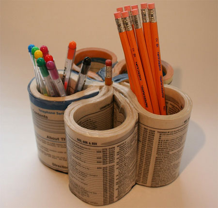 Pen organizer made from a recycled phone book