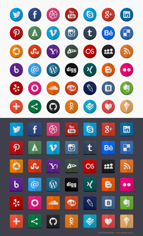80 flat social icons
