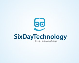 six-day-technology-beautifully-blue-logo-designs