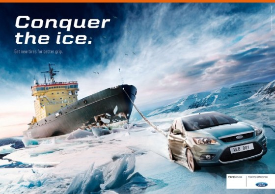 Ford Conquer the ice o e1402147210420 Creative Car Advertising Ideas